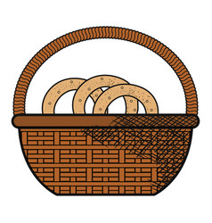 basket with pretzel product vector image
