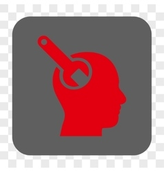 Brain tool rounded square button vector