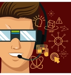 Character man vr reality glasses gadgte fiction vector