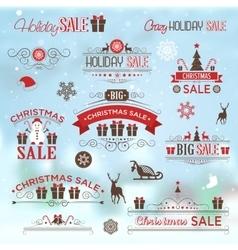 Christmas sale design set - labels emblems vector image