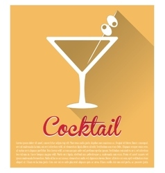 Cocktail martini yellow background vector