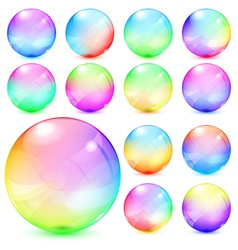 Colorful opaque glass spheres vector image