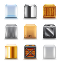 different boxes icons set vector image