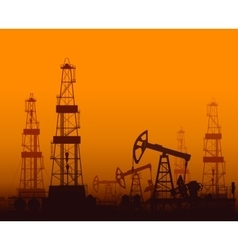Drilling rigs and oil pumps at sunset vector image vector image