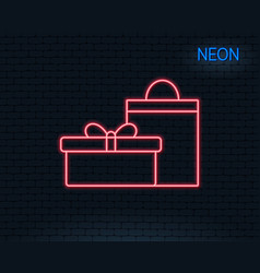 Gift box line icon present sign vector