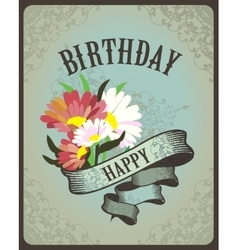 Greeting card with flowers birthday vector image vector image