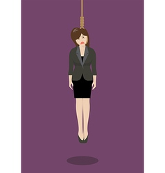 Hanged business woman vector image