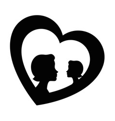 Heart with mother silhouette vector
