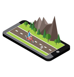 isometric countryside summer road mobile geo vector image vector image