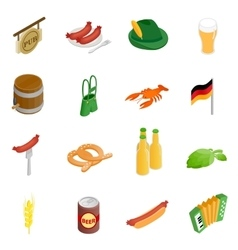 Oktoberfest party isometric 3d icons vector image