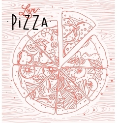 Poster love pizza vector image vector image