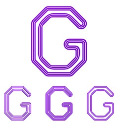 Purple line g logo design set vector image