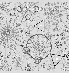 seamless background with mystic symbols vector image vector image