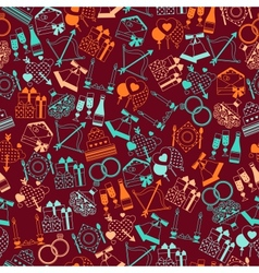 Seamless wedding pattern in retro style vector image vector image