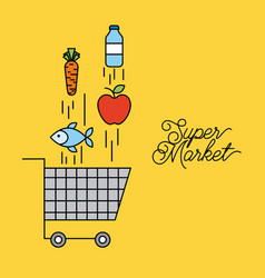 supermarket cart shopping with falling food vector image