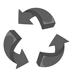 Three circular arrows icon black monochrome style vector