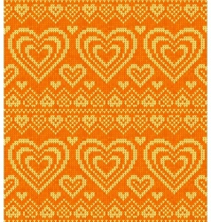 Valentines day knitted seamless pattern vector image