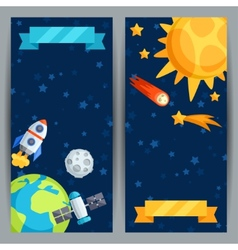 Vertical banners with solar system and planets vector