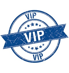 Vip grunge retro blue isolated ribbon stamp vector