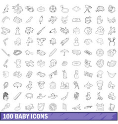 100 baby icons set outline style vector