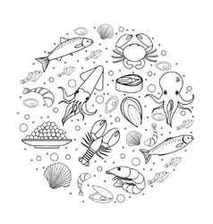 Seafood icons set in round shape line sketch vector