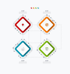 Infographics template four options with square vector