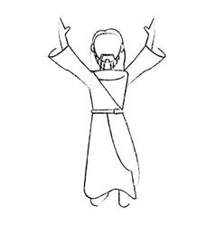 jesus christ devotion sacrifice skecth vector image