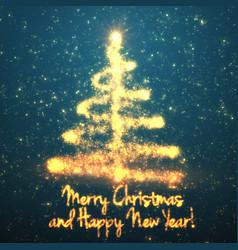 Shining christmas tree on turquoise vector
