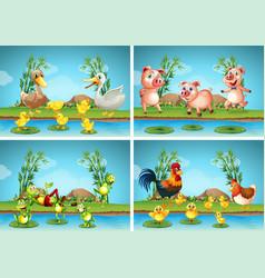 scenes with farm animals vector image