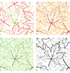 seamless patterns maple leaves vector image