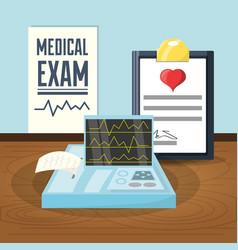 Medical prescription to cardiac exam vector