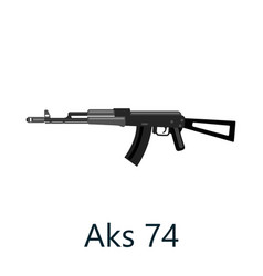 Assault automatic black rifle ak74 military gun vector