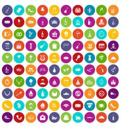 100 banquet icons set color vector