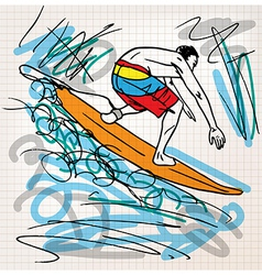 Surfing sketch vector