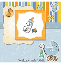 Baby announcement card with milk bottle and vector