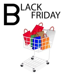 Shopping Bags in Black Friday Shopping Cart vector image