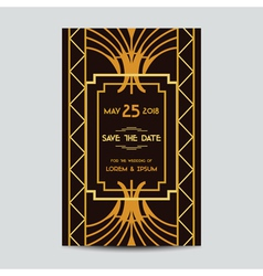 Wedding invitation card - art deco vintage style vector