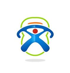sport fitness barbel symbol people logo vector image