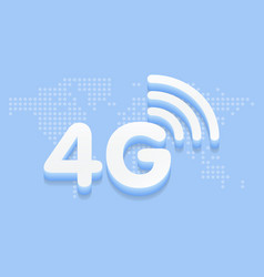 4g fast internet 3d sign in blue background and vector