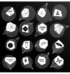 Abstract polygonal label design elements of vector