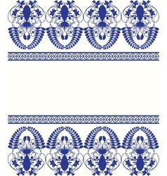 Gzhel style border pattern blue porcelain russian vector