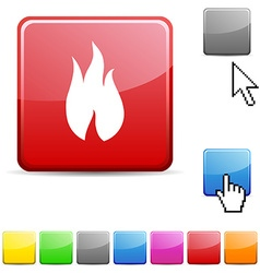 Fire glossy button vector