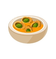 Snail soup in a bowl vector