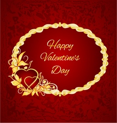 Happy valentine day frame hearts with gold leaves vector