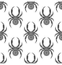 Pattern with bright decorative black closeup spide vector