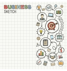 Business hand draw integrated icons set vector