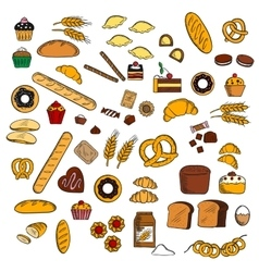 Bakery pastry confectionery products sketches vector