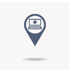 Map pointer flat icon with laptop icon inside and vector