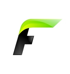 F letter black and green logo design fast speed vector