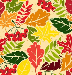 Autumn leaves seamless pattern Flat style vector image